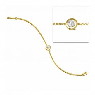 Armbänder - 0.70 Karat diamantenes Armband in Zargenfassung aus Gelbgold