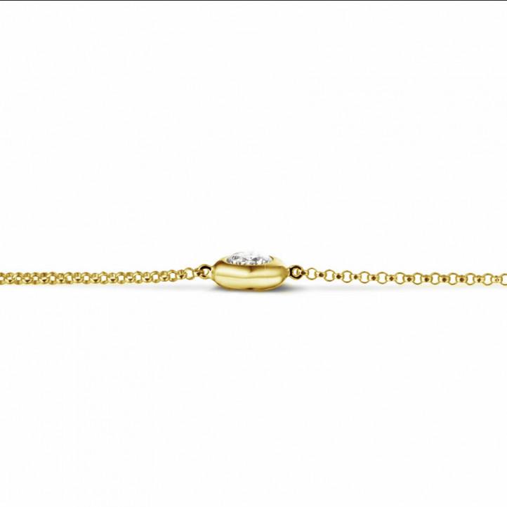 0.50 Karat diamantenes Armband in Zargenfassung aus Gelbgold