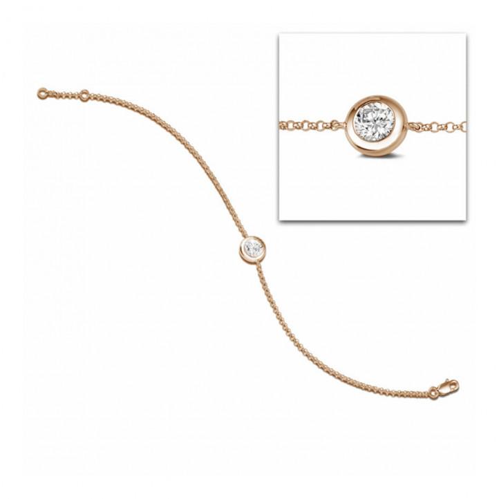 0.70 Karat diamantenes Armband in Zargenfassung aus Rotgold