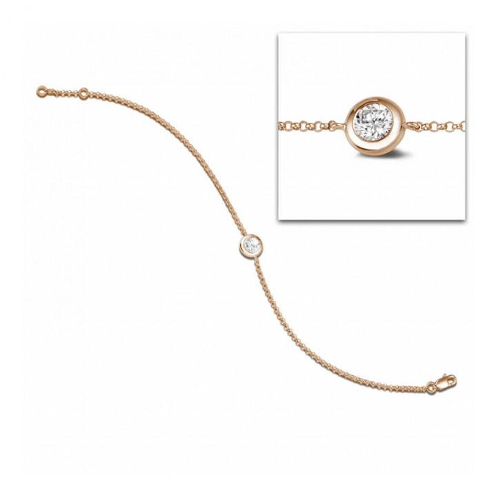 0.50 Karat diamantenes Armband in Zargenfassung aus Rotgold