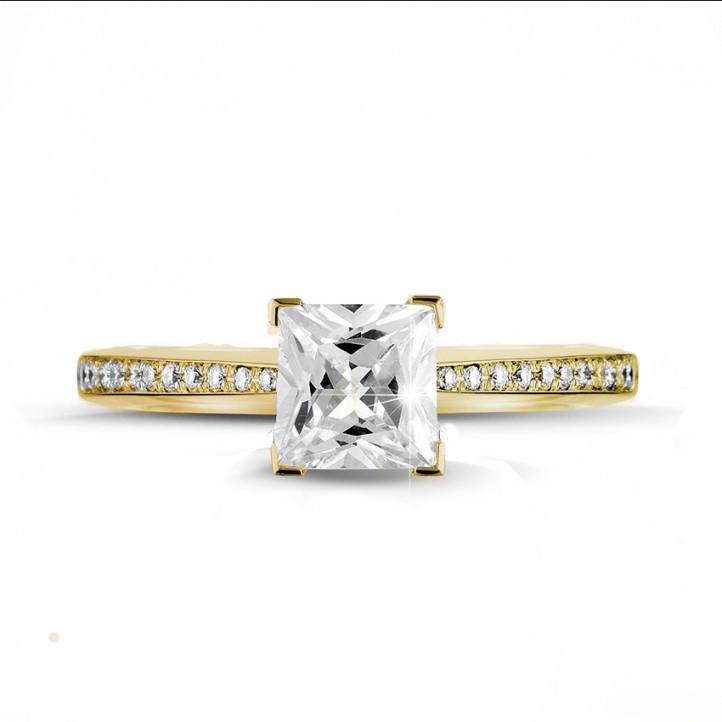 2.00 Karat Solitärring aus Gelbgold mit Prinzessdiamanten und kleinen Diamanten