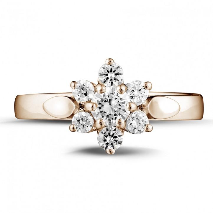 0.50 Karat diamantener Blumenring aus Rotgold
