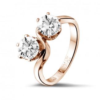 Verlobung - 1.50 Karat diamantener Toi & Moi Ring aus Rotgold