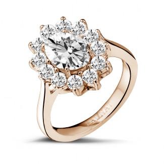 Verlobung - 2.84 Karat Entourage Ring mit ovalem Diamanten aus Rotgold