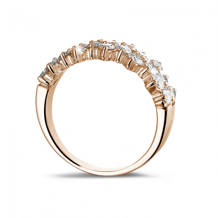 1.20 Karat Diamant Memoire Ring aus Rotgold