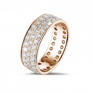 1.70 Karat Memoire Ring aus Rotgold mit drei Reihen runder Diamanten