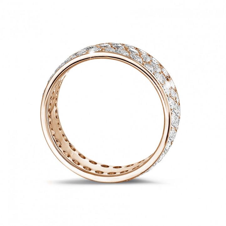 1.70 Karat Memoire Ring (rundherum besetzt) aus Rotgold mit drei Reihen runder Diamanten