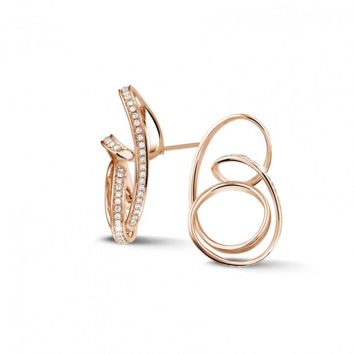 1.50 Karat diamantene Design Ohrringe aus Rotgold