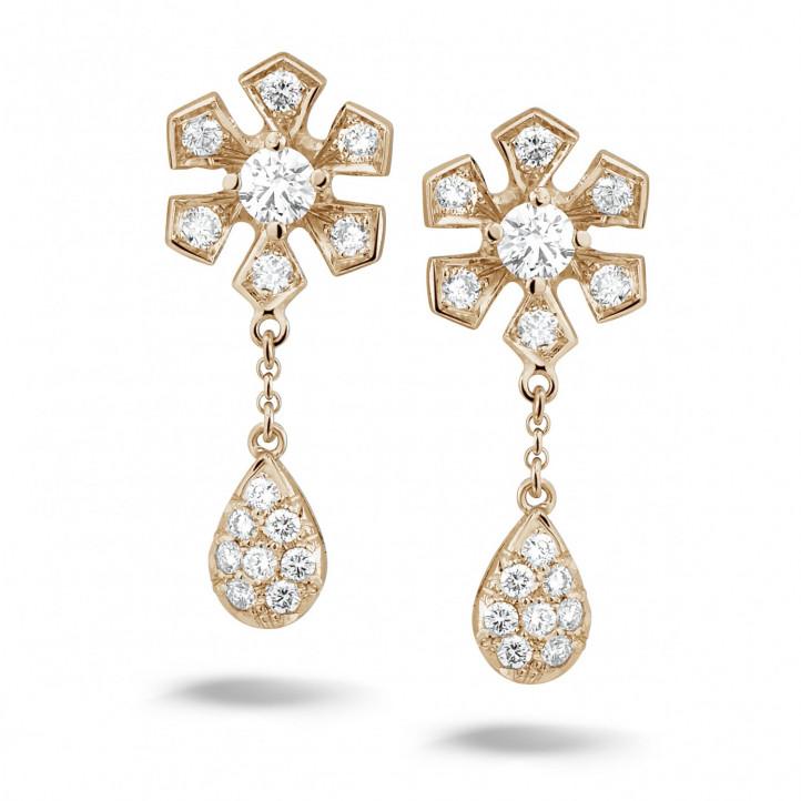 0.90 Karat diamantene Blumenohrringe aus Rotgold