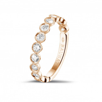 Diamant Memoire Ring aus Rotgold - 0.70 Karat diamantener Kombination Memoire Ring aus Rotgold