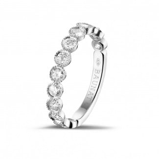 Diamantringe aus Platin - 0.70 Karat diamantener Kombination Memoire Ring in Platin