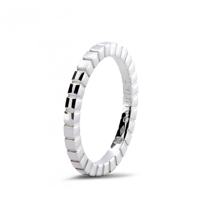 Karierter Kombination Ring aus Weißgold