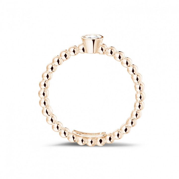 0.07 Karat diamantener Kombination Ring mit Kügelchen aus Rotgold