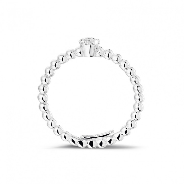 0.04 Karat diamantener Kombination Ring mit Kügelchen aus Weißgold