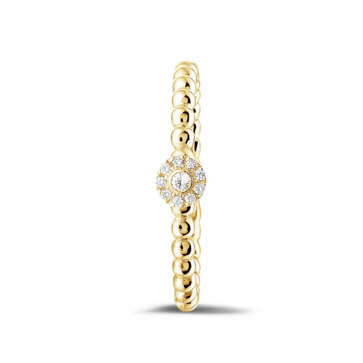 0.04 Karat diamantener Kombination Ring mit Kügelchen aus Gelbgold