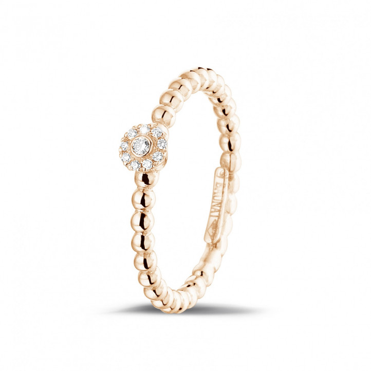 0.04 Karat diamantener Kombination Ring mit Kügelchen aus Rotgold