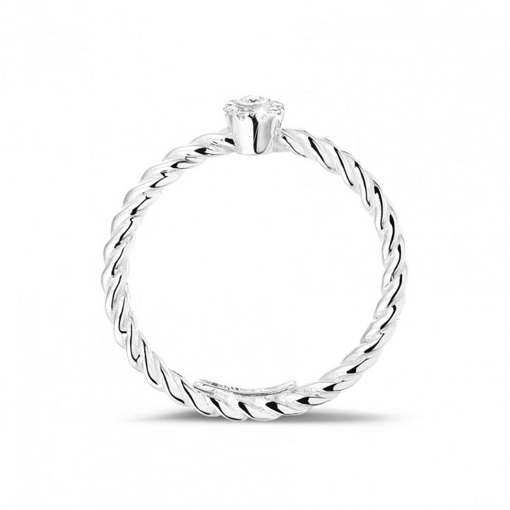 0.04 Karat Diamant gedrehter Kombination Ring aus Weißgold