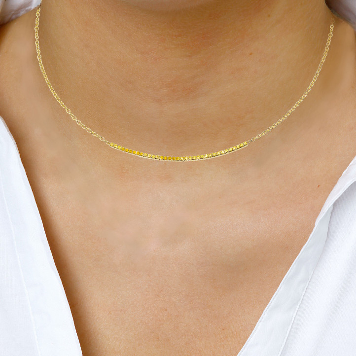 0.30 Karat feine Halskette aus Gelbgold mit gelben Diamanten
