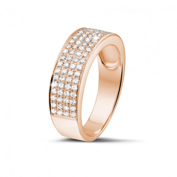0.64 Karat breiter diamantener Memoire Ring aus Rotgold