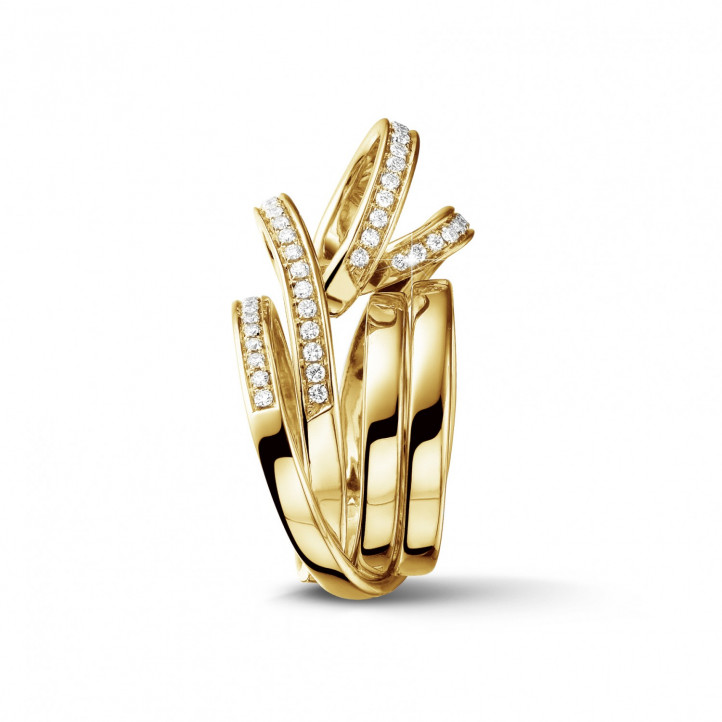 0.77 Karat diamantener Design Ring aus Gelbgold