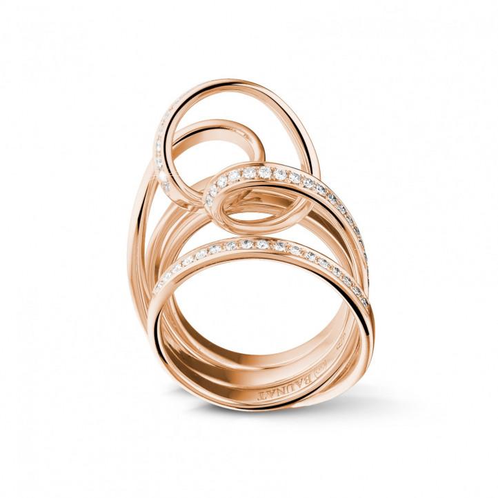 0.77 Karat Diamant Design Ring aus Rotgold