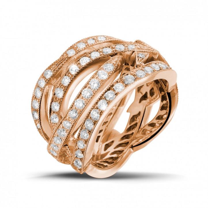 2.50 Karat diamantener Design Ring aus Rotgold