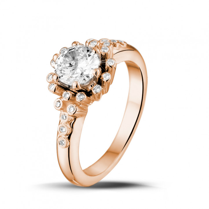 0.90 Karat diamantener Design Ring aus Rotgold