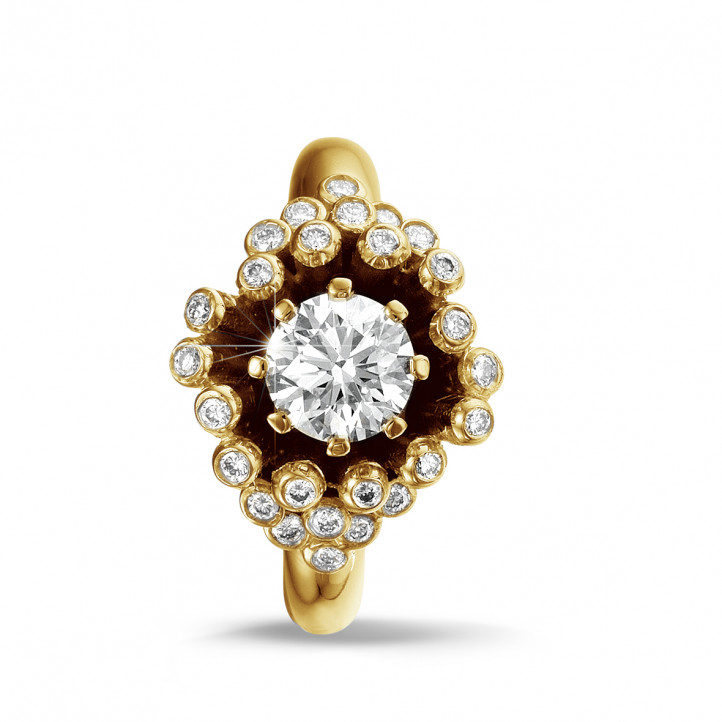 0.90 Karat diamantener Design Ring aus Gelbgold