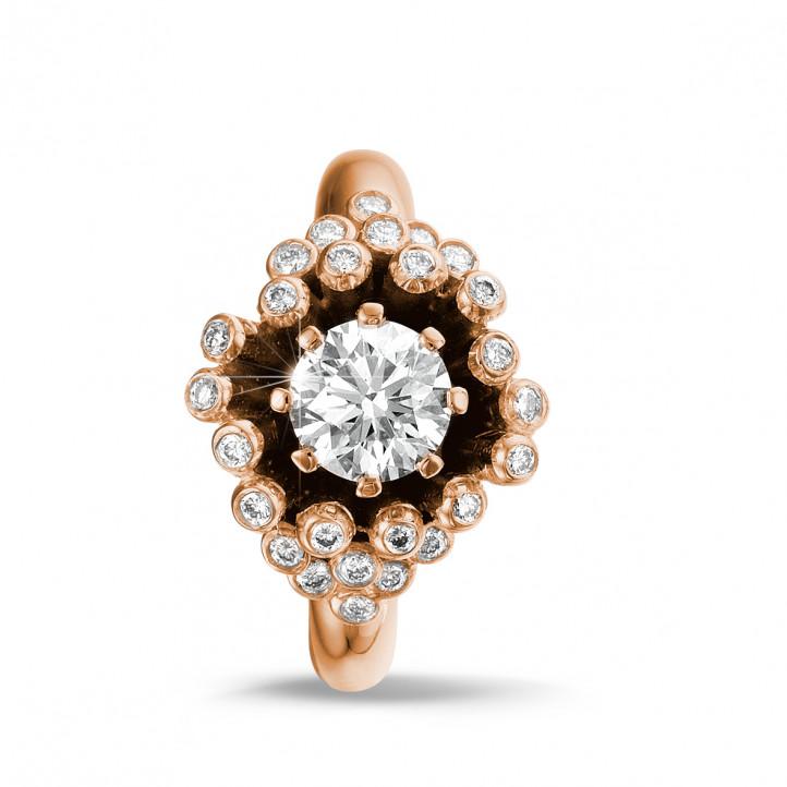 0.90 Karat diamantener Design Ring aus Rotgold