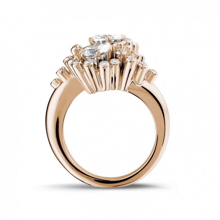 1.50 Karat diamantener Toi & Moi Design Ring aus Rotgold