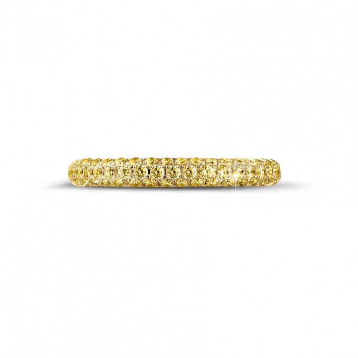 0.65 Karat diamantener Memoire Ring mit gelben Diamanten (zur Hälfte besetzt) aus Gelbgold