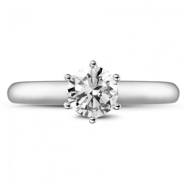 0.75 Karat diamantener Solitärring aus Weißgold mit sechs Krappen