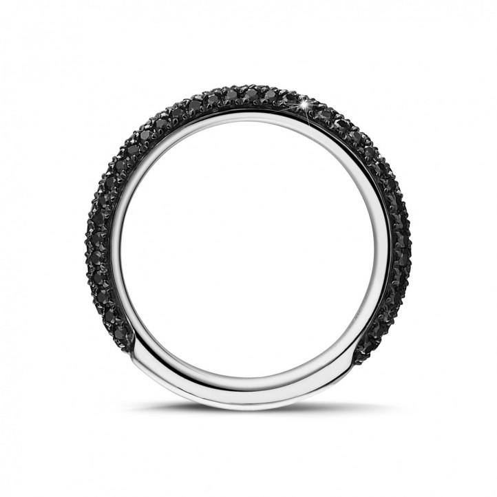 0.65 Karat Memoire Ring (zur Hälfte besetzt) aus Weißgold mit schwarzen Diamanten