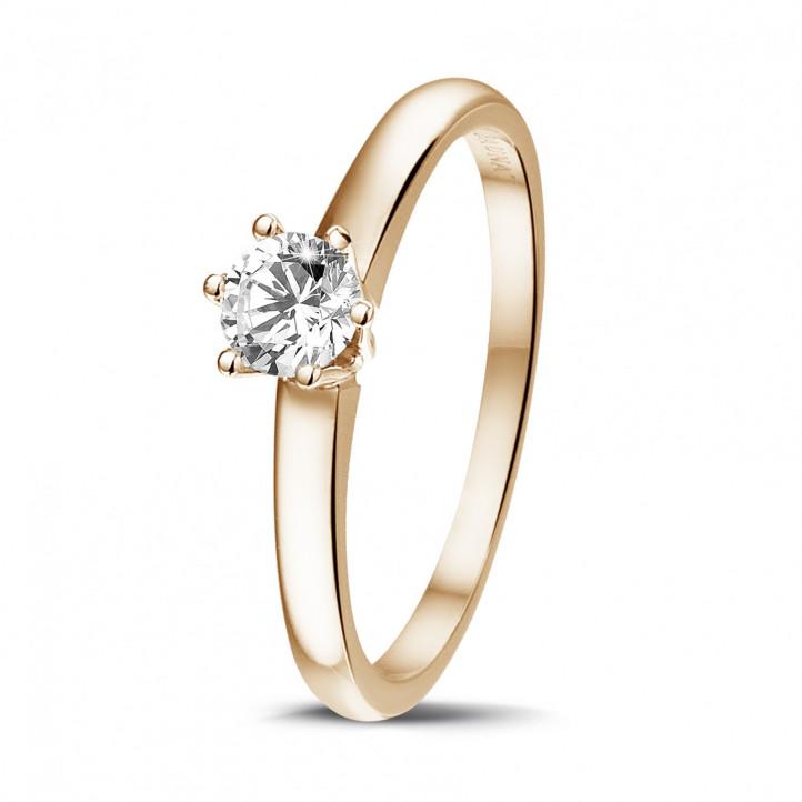0.30 Karat diamantener Solitärring aus Rotgold mit sechs Krappen
