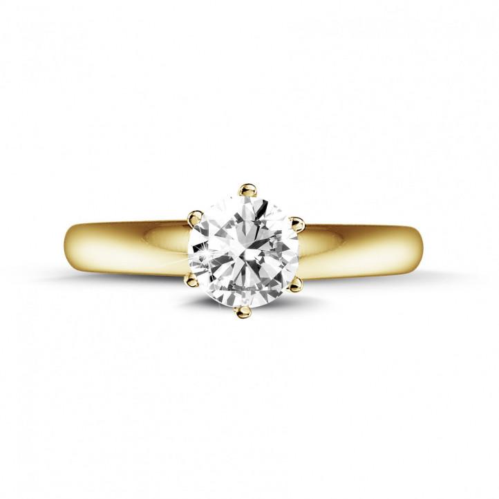 0.50 Karat diamantener Solitärring aus Gelbgold mit sechs Krappen