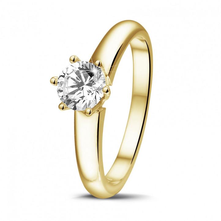 0.70 Karat diamantener Solitärring aus Gelbgold mit sechs Krappen
