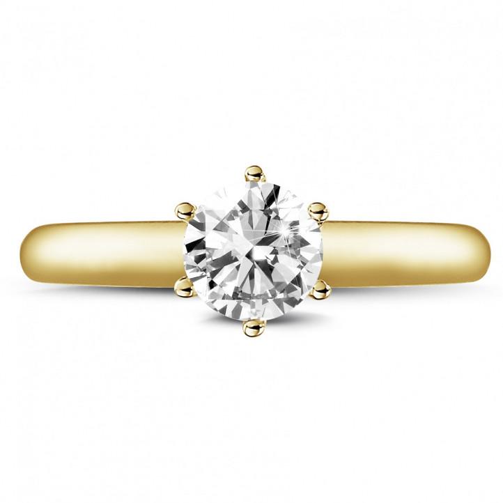0.75 Karat diamantener Solitärring aus Gelbgold mit sechs Krappen