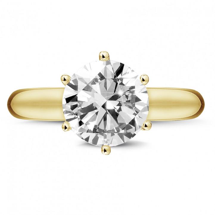 3.00 Karat diamantener Solitärring aus Gelbgold mit sechs Griffen