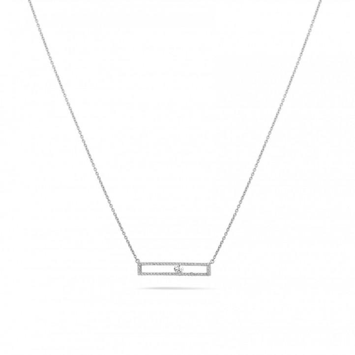 0.30 Karat Halskette aus Weißgold mit schwebendem runden Diamant