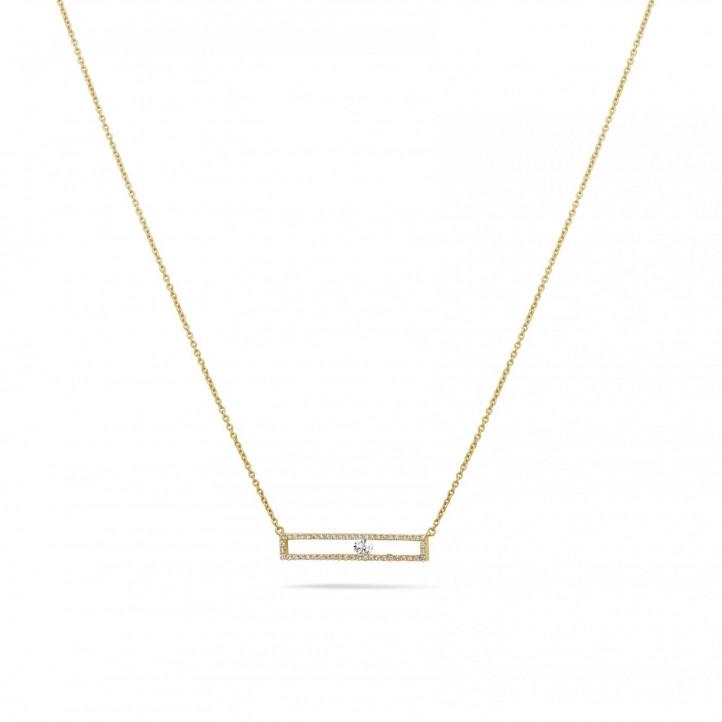 0.30 Karat Halskette aus Gelbgold mit schwebendem runden Diamant