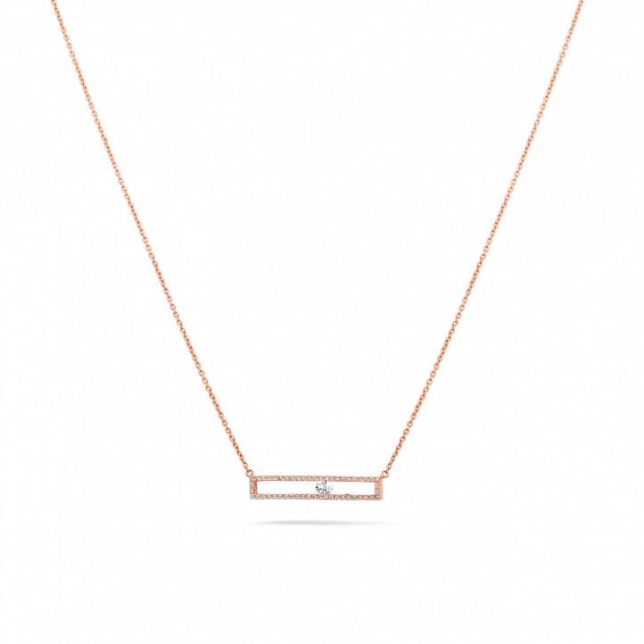 0.30 Karat Halskette aus Rotgold mit schwebendem runden Diamant
