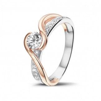 Diamantringe aus Weißgold - 0.50 Karat diamantener Solitärring aus Weiß- und Rotgold