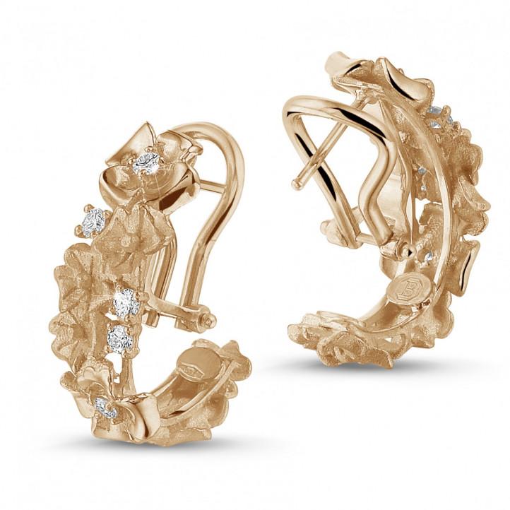 0.50 Karat diamantene Design Blumenohrringe aus Rotgold