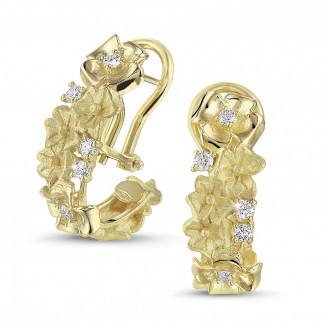 Diamantohrringe aus Gelbgold  - 0.50 Karat diamantene Design Blumenohrringe aus Gelbgold