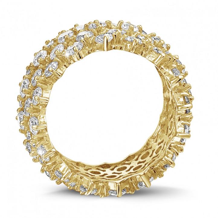 Diamantring mit Fischgrätmuster aus Gelbgold