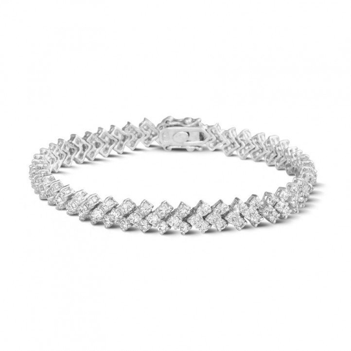 9.50 Karat Diamant Armband mit Fischgrätmuster aus Weißgold