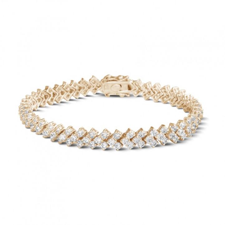 9.50 Karat Diamant Armband mit Fischgrätmuster aus Rotgold