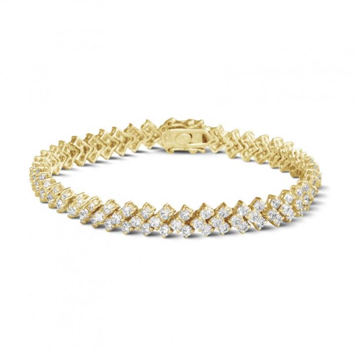 9.50 Karat Diamant Armband mit Fischgrätmuster aus Gelbgold