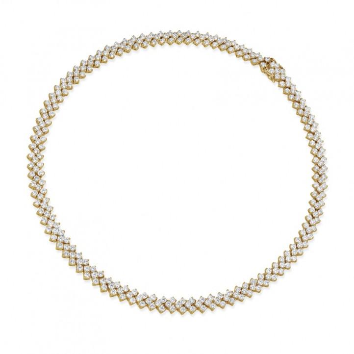 19.50 Karat Diamant Halskette mit Fischgrätmuster aus Gelbgold
