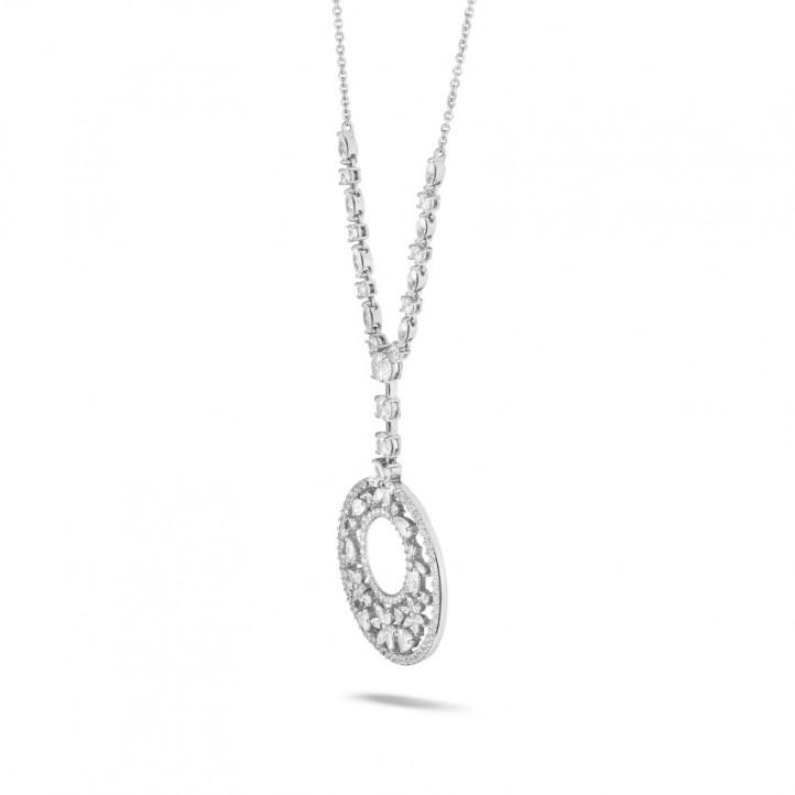 7.70 Karat Halskette aus Weißgold mit runden, Marquise, Tropfen und Herz Diamanten